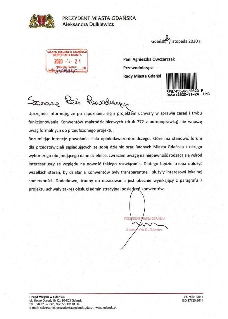 Opinia prezydent Gdańska Aleksandry Dulkiewicz ws. projektów uchwał
