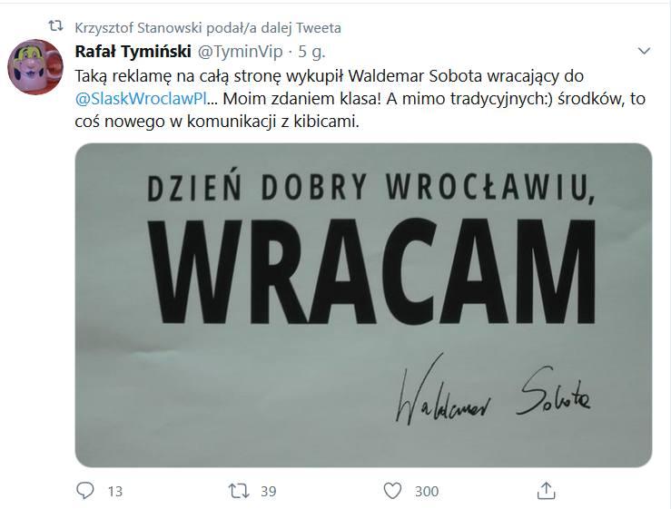 Niespodzianka od Waldemara Soboty i Śląska Wrocław