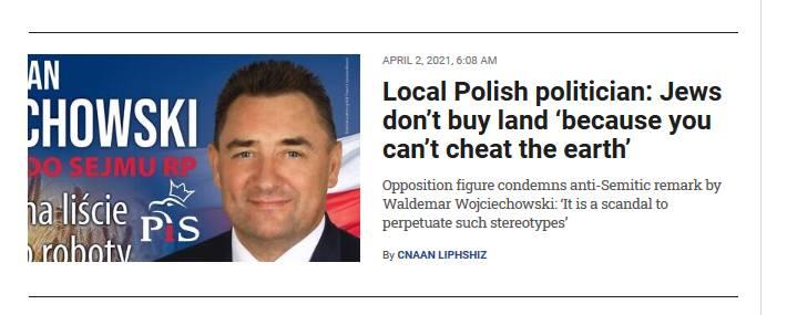 Faktycznie: o wypowiedzi radnego PiS informował m.in. Times of Israel. Waldemar Wojciechowski po fali krytyki m.in. ze strony polityków Koalicji Obywatelskiej,