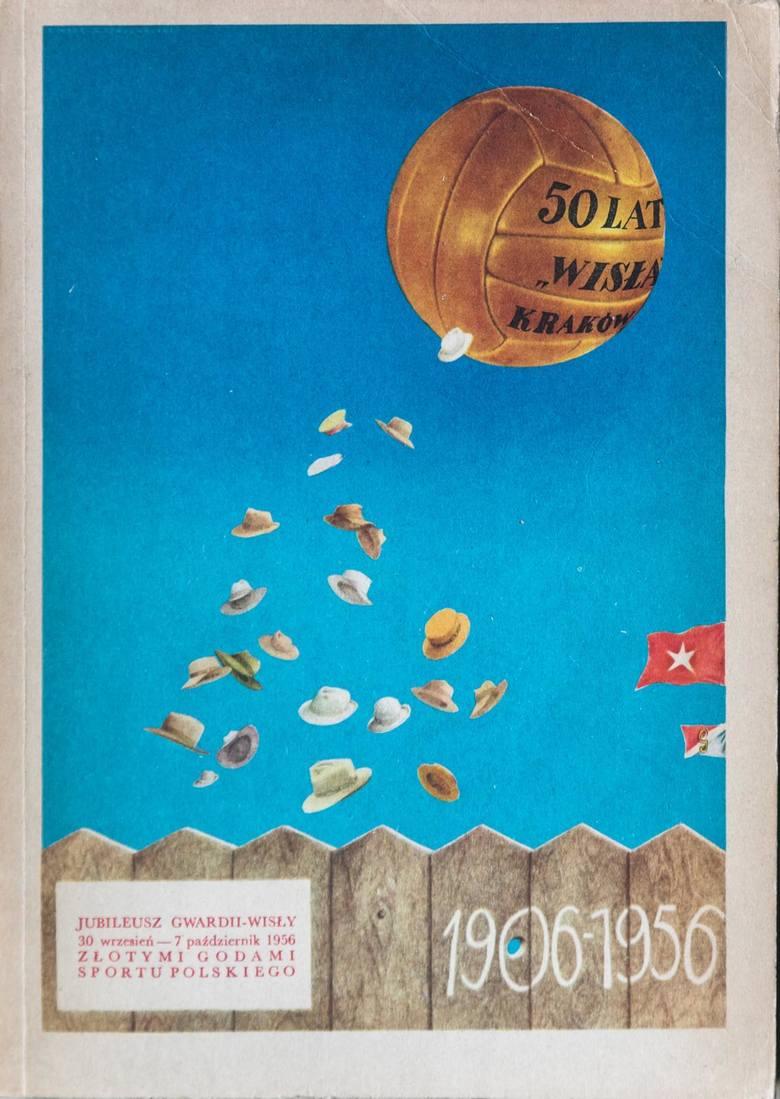 """""""50 lat Wisła Kraków"""". Rok wydania: 1956. Autorzy: praca zbiorowa. Wydawca: Gwardia-Wisła. Tematyka: historia klubu. Liczba stron: 208."""