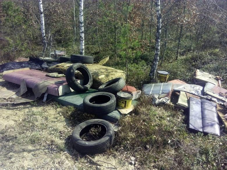 Ktoś wyrzucił śmieci niedaleko Półczna.