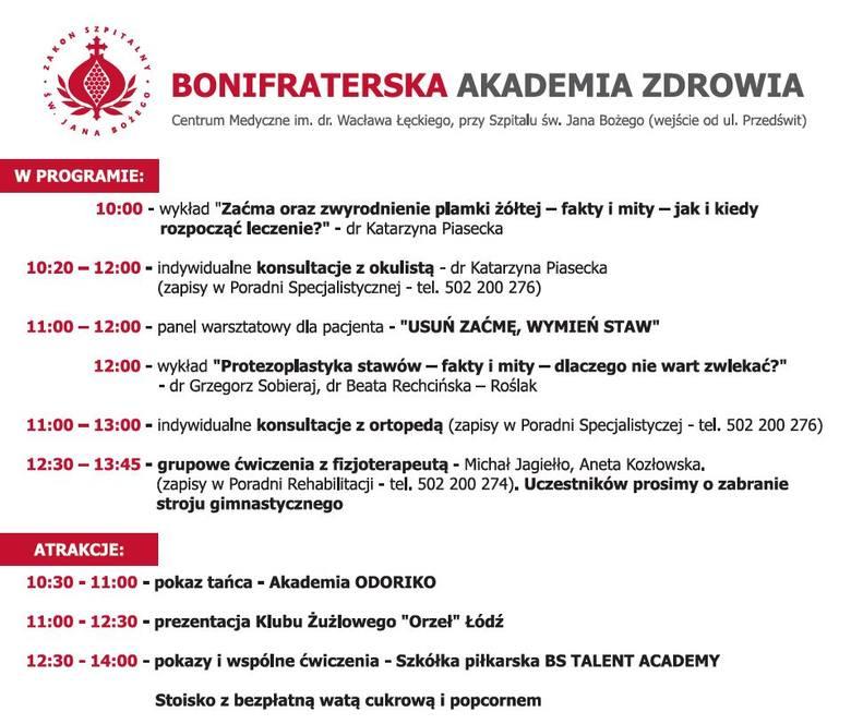 Bonifraterska Akademia Zdrowia już w sobotę 15 czerwca.