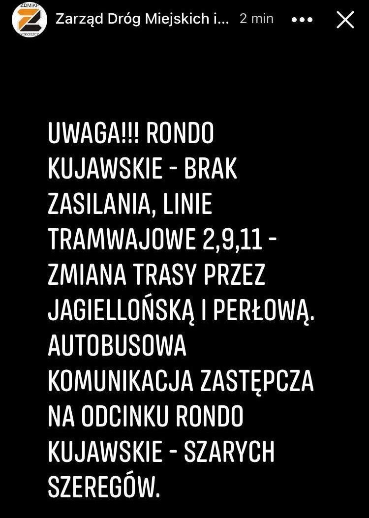 O czasowych utrudnieniach ZDMiKP w Bydgoszczy poinformował w niedzielę, 2 maja, około godz. 12.30.