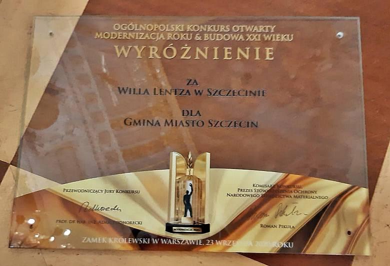Willa Lentza wyróżniona w konkursie Modernizacja Roku.