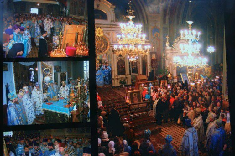 Wystawa z okazji powrotu relikwii św. Gabriela na ogrodzeniu soboru św. Mikołaja