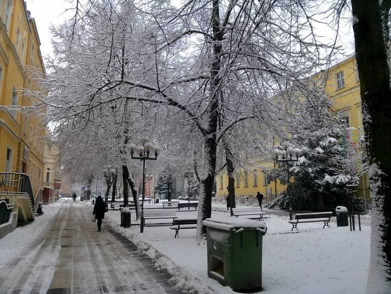 Już w poniedziałek po południu Zieloną Górę i okolice zaatakowała zima. Jednak naprawdę zaczęło sypać w nocy. Zrobiło się kompletnie biało, bo nasypało