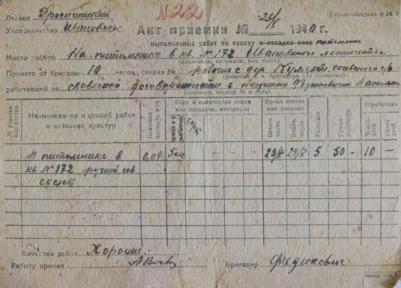 Raport z odbioru prac wykonanych w 1940 roku przez brygadę Stefana Walczaka.<br />