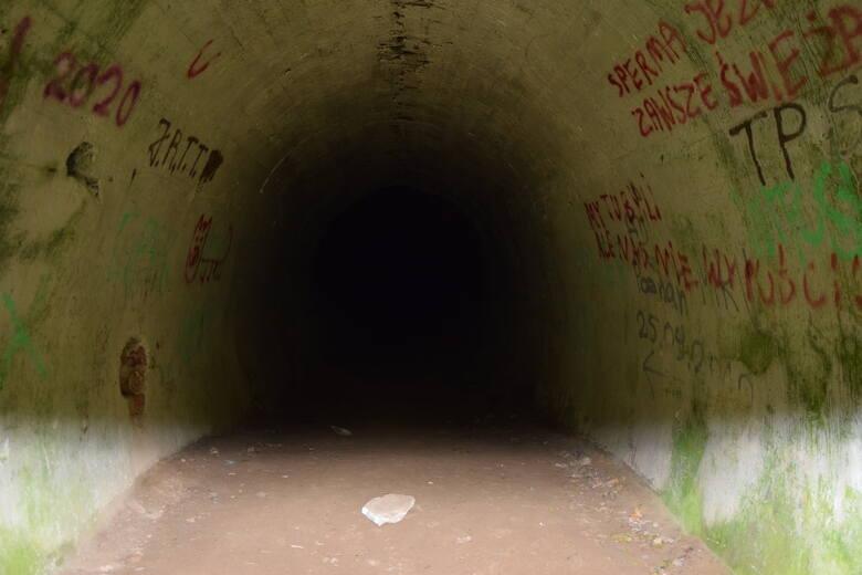 Wjazd do bunkra MRU w Wysokiej ukryty jest wśród lasów, a obok ruiny tajnej fabryki lotniczej.