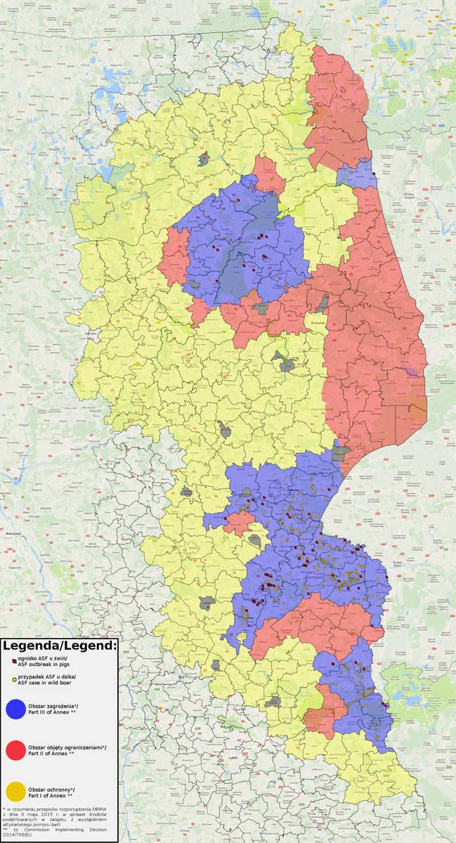 ASF coraz bliżej centrum Polski. Wirus przekroczył linię Wisły [mapa]