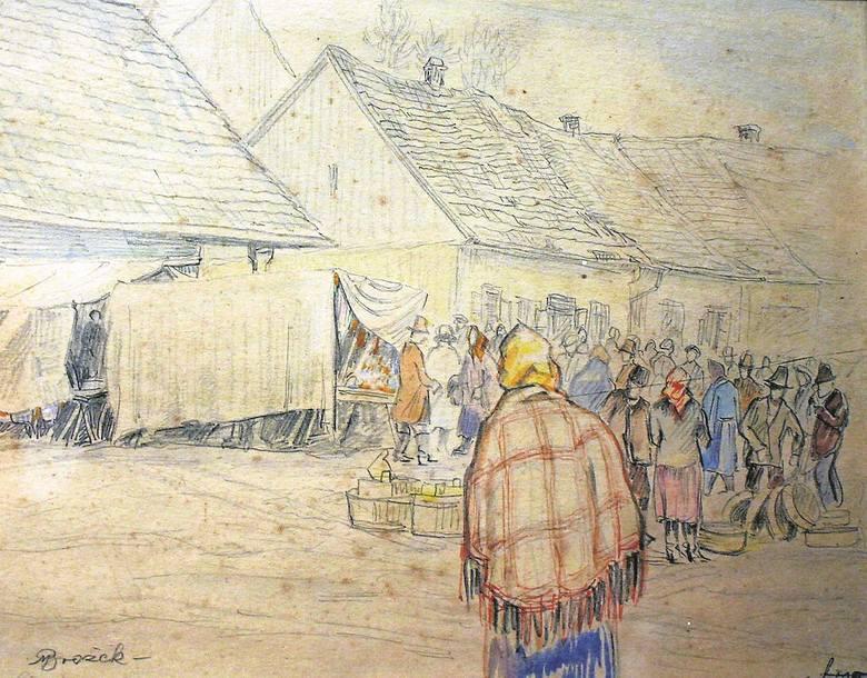 Obrazek Maksymiliana Brożka przedstawiający stragany na limanowskim rynku podczas jarmarku. Rysunek znajduje się w zbiorach Regionalnego Muzeum Ziemi