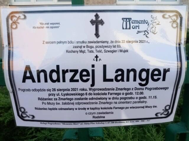 Nie żyje Andrzej Langer, głos starówki w Toruniu.
