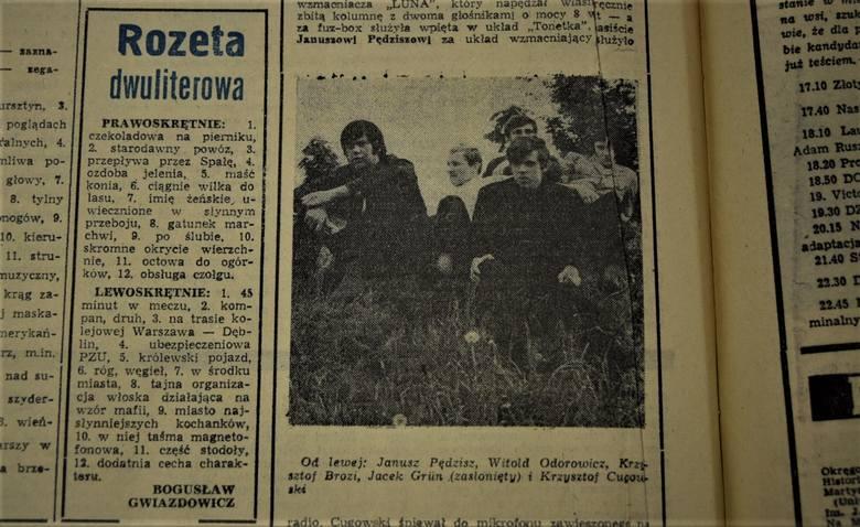 Zdjęcie zespołu Budka Suflera w Kurierze Lubelskim z września 1983 r.