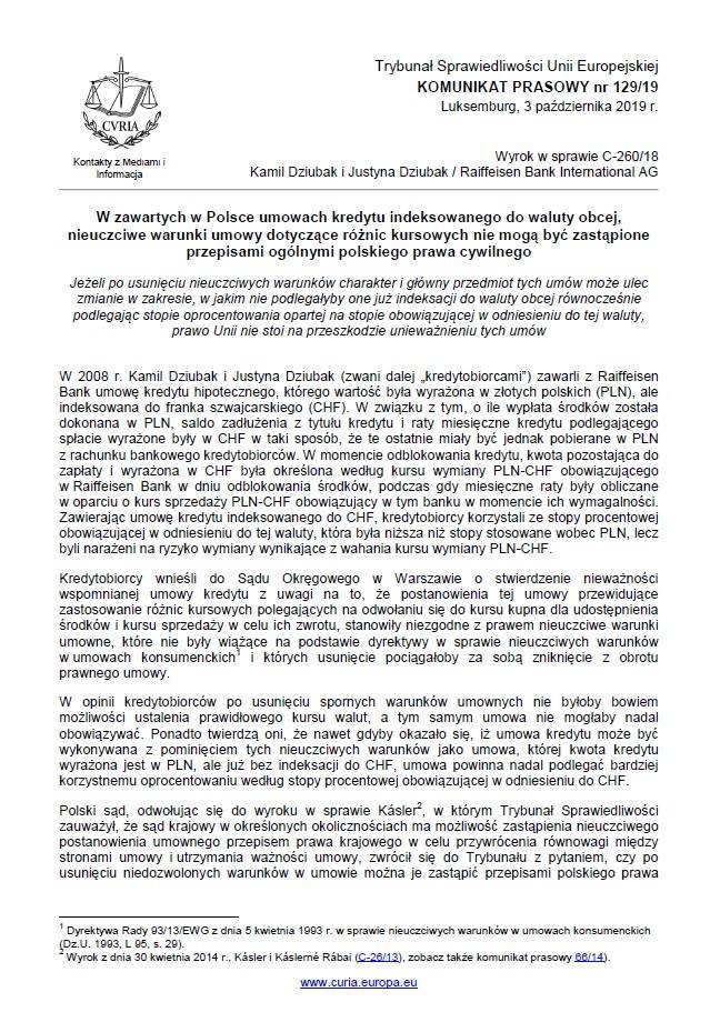 Trybunał Sprawiedliwości Unii Europejskiej wydał wyrok w sprawie frankowiczów