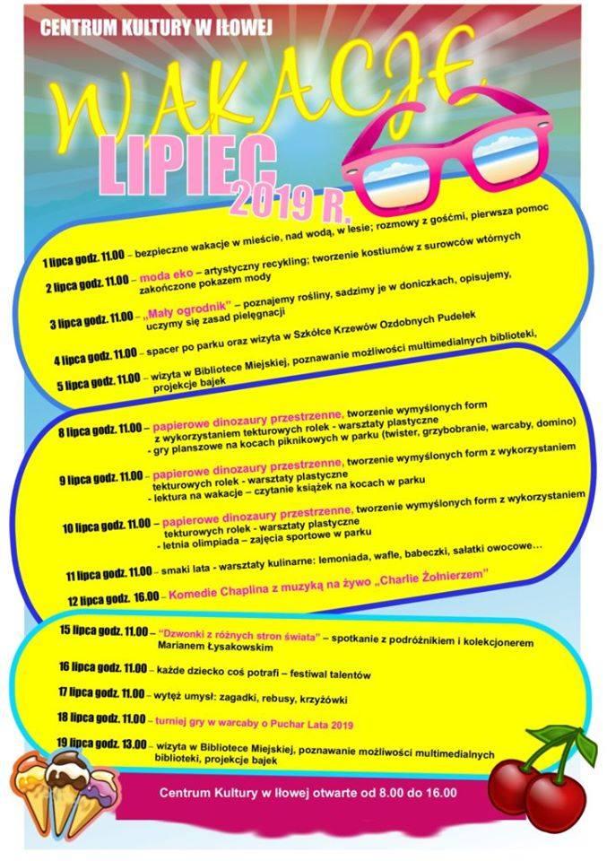 Program zajęć na wakacje w Iłowej.