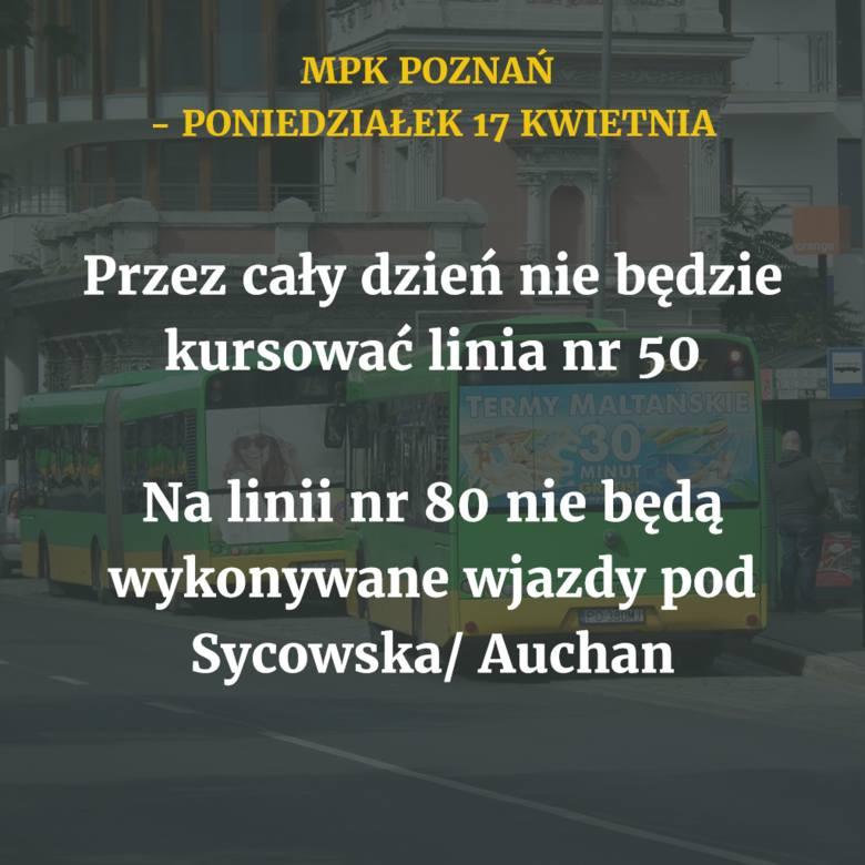 W poniedziałek, 17 kwietnia, autobusy i tramwaje MPK Poznań będą kursować według świątecznego rozkładu jazdy. Wprowadzonych zostanie jednak kilka ograniczeń.
