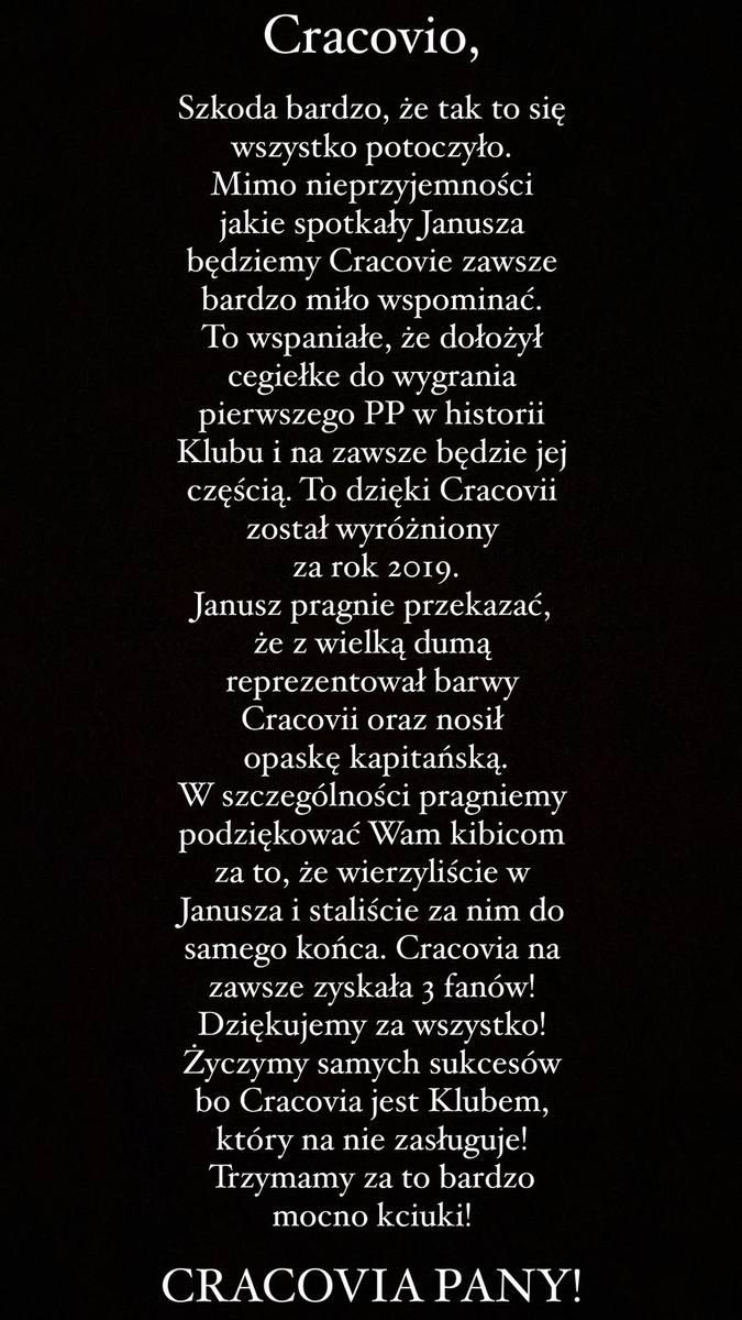 List żony Janusza Gola do kibiców Cracovii