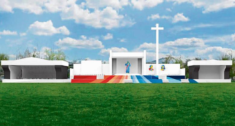 Tak będzie prezentował się ołtarz na Błoniach. Poza papieżem, znajdzie się na nim kilkuset celebrantów