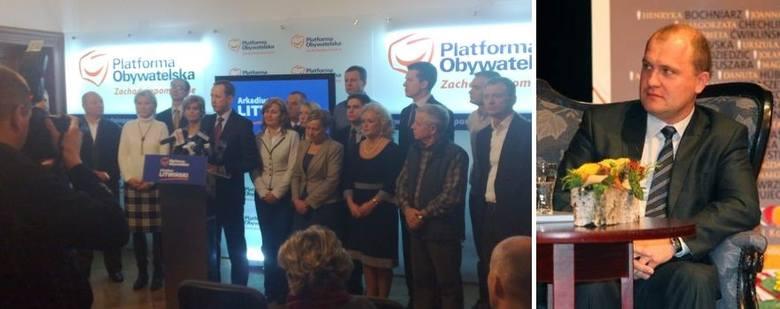 Arkadiusz Litwiński na przedstawił dzisiaj radnych PO. Piotr Krzystek (z prawej) zapowiedział, że