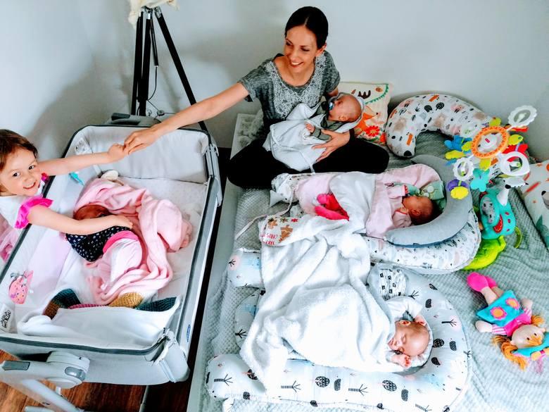 Anna Dudzic-Koc to mama 3-letniej Tosi i czworaczków: Dominika, Olgi, Marcelinki i Weroniki.