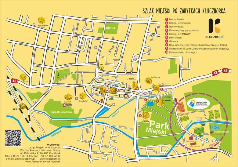 Mapa szlaku miejskiego po zabytkach Kluczborka.