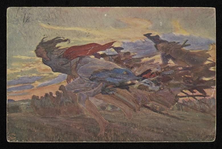 Czarownice lecą na sabat - pocztówka z pierwszej połowy XX wieku, wykonana na podstawie obrazu nieznanego autora<br />