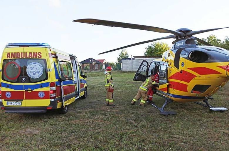 Poszkodowany mężczyzna został przetransportowany śmigłowcem do szpitala