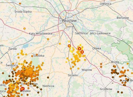 Burza wokół Wrocławia o godzinie 15.20.