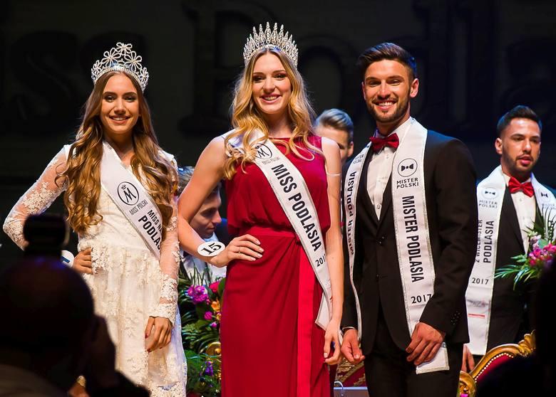 Od lewej: Miss Podlasia Nastolatek 2017 Weronika Przestrzelska, Miss Podlasia 2017 Monika Stypułkowska i Mister Podlasia 2017 Arkady Zadrożny