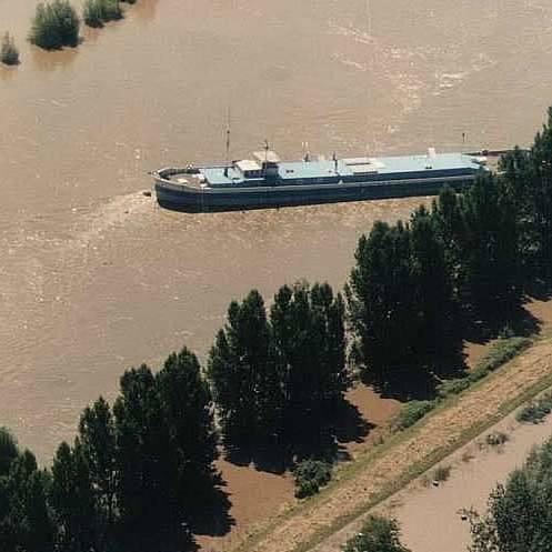 Powódź 1997 nad Opolszczyzną z lotu ptaka.