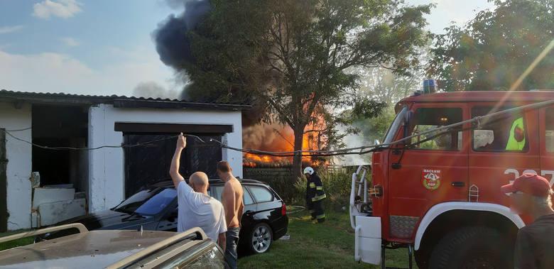 Pożar w Nacławiu w gm. Polanów