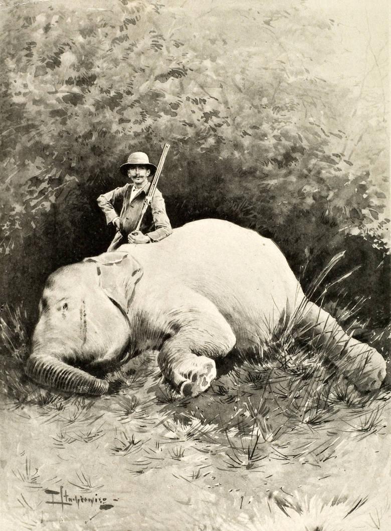 """Piotr Stachiewicz, Józef Potocki na polowaniu na Ceylonie, Repr. Tom II """"Ceylon"""", Warszawa 1896."""