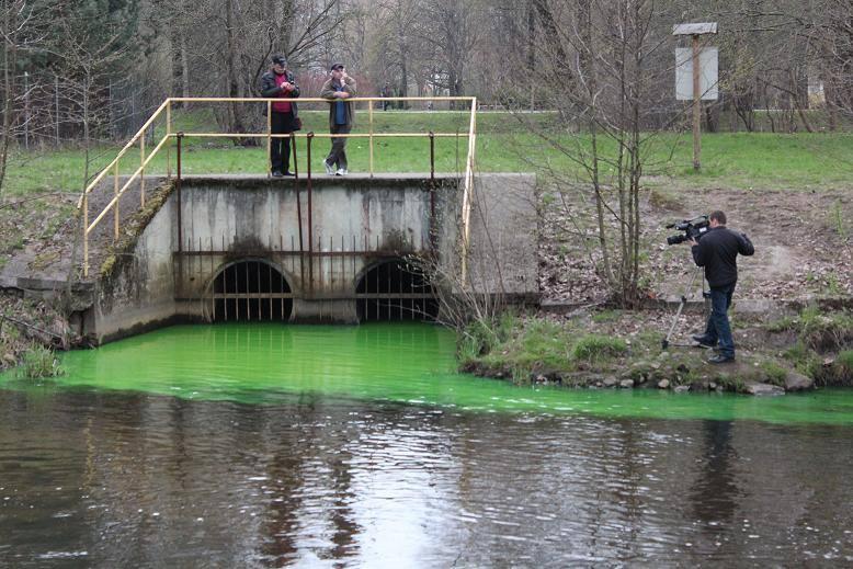 Zielona woda spływa do Słupi