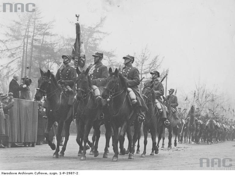 Defilada oddziałów konnych podczas obchodów Święta Niepodległości w Krakowie