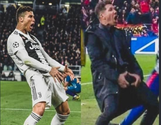 Liga Mistrzów. Cristiano Ronaldo sparodiował Diego Simeone po wygranym meczu Juventusu z Atletico