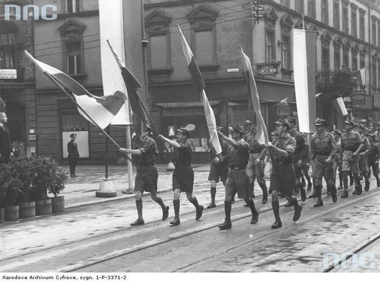 Uroczystości w Katowicach z okazji rocznicy Bitwy Warszawskiej, 1936 rok.