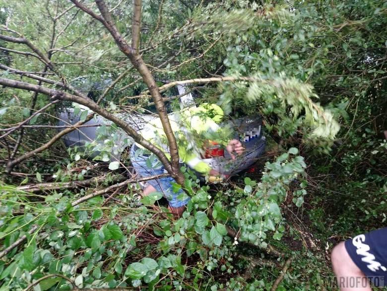Staranowane audi zjechało w końcu z obwodnicy Opola i wpadło w drzewa.