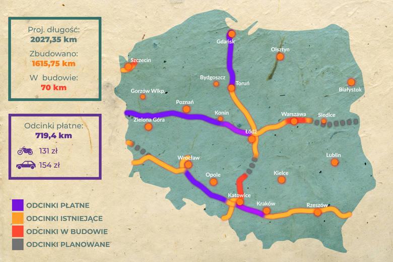 Zobaczcie infografikę pokazującą przebieg wszystkich autostrad w Polsce, ich płatne odcinki, ceny i fragmenty w budowie