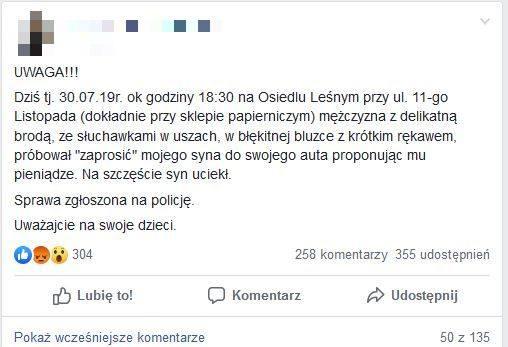 Ten post pojawił się na Facebooku 30 lipca. Na osiedlu Leśnym miał pojawić się pedofil.