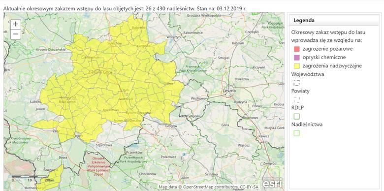 Zakaz wstępu do lasu, stan z 3 grudnia 2019 r.