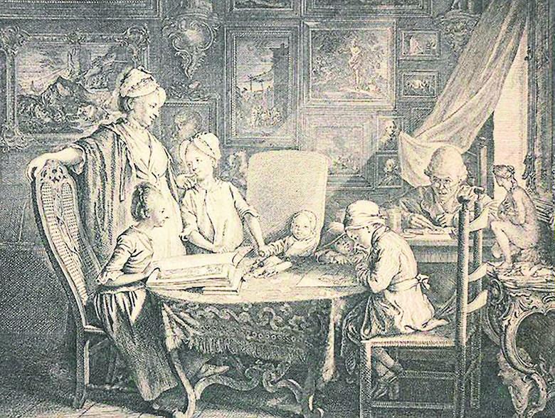 Daniel Chodowiecki miał talent trafnej obserwacji postaci i zdarzeń (Cabinet d'un peintre, 1771 r. )<br />