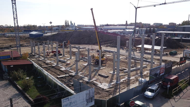 """Centrum Handlowe """"Sekunda"""" - plac budowy. Zdjęcia z drona."""