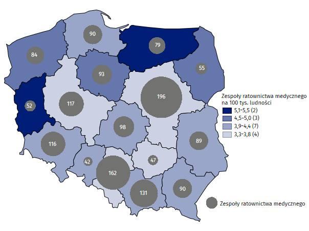 Mapa ilustrująca liczbę Zespołów ratownictwa medycznego według województw w 2018 r. Źródło: Opracowanie GUS: Pomoc doraźna i ratownictwo medyczne w 2018
