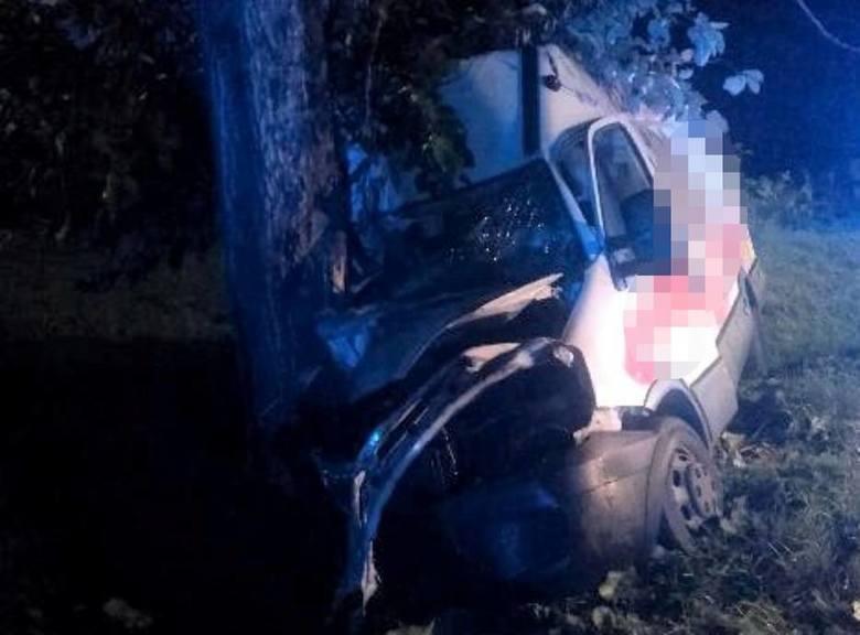 Dostawcze auto marki Iveco uderzyło w przydrożne drzewo w okolicy miejscowości Malechowo. Do zdarzenia doszło we wtorek rano po godzinie 4. Na miejscu