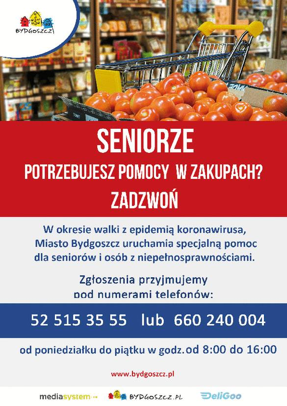 """""""Zakupy dla seniora"""" w Bydgoszczy. Nowa usługa już działa!"""