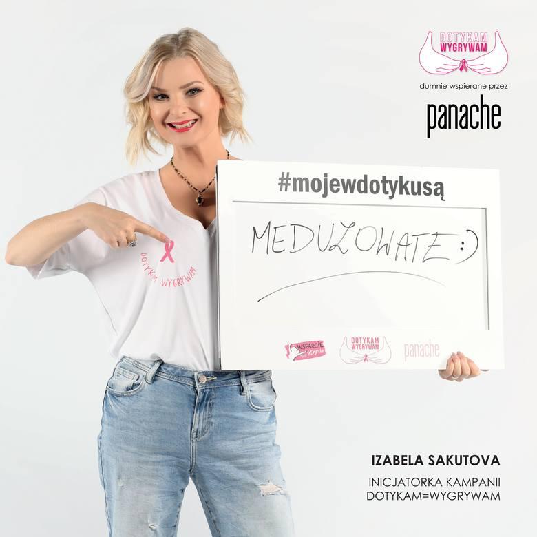 Izabela Sakutova jest inicjatorką akcji DOTYKAM=WYGRYWAM i reCYClingu biustonoszy. W kampanię zaangażowali się artyści i celebryci.