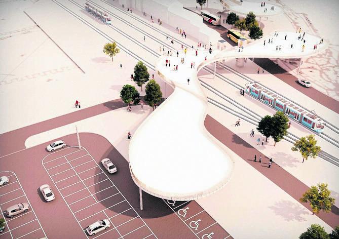 Projekt parkingu na prawobrzeżu zakładał powstanie kładki nad torami kolejowymi