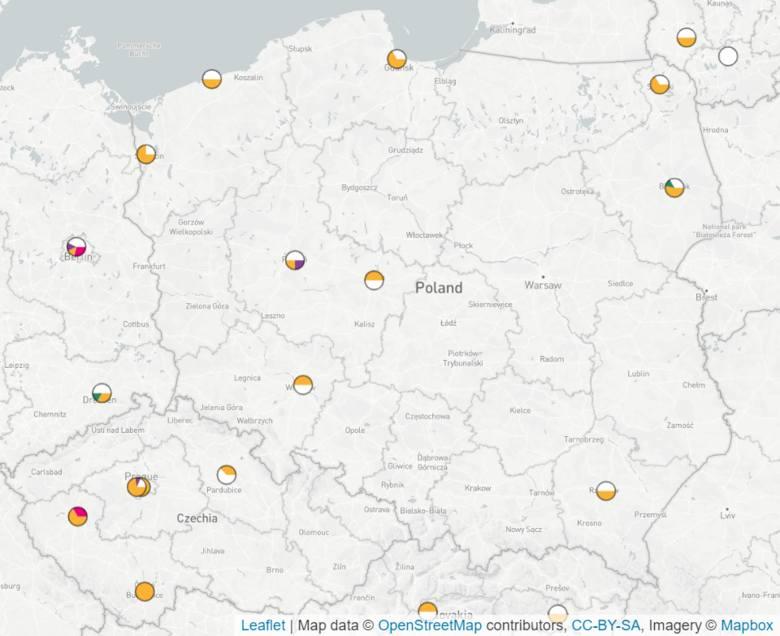 Mapa występowania szczepów K. pneumoniae odpornych na karbapenemy w Polsce, dostępna na stronie MicroReact