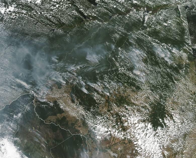 NASA opublikowała zdjęcie pokazujące dymy nad Amazonią widziane z kosmosu