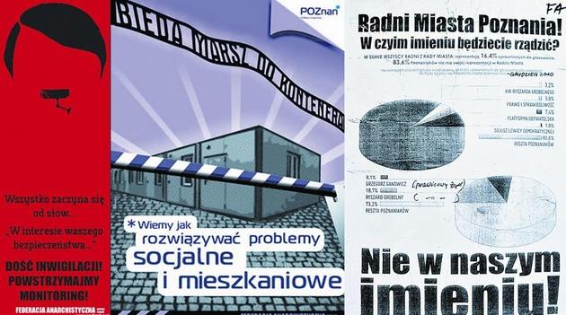 Takie plakaty można m.in. znaleźć na ulicach Poznania. Wszystkie firmowane są przez anarchistów z kolektywu Rozbrat