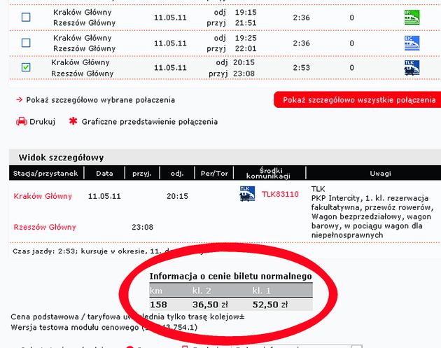 Na stronie internetowej bilet do Rzeszowa jest droższy o 7 zł